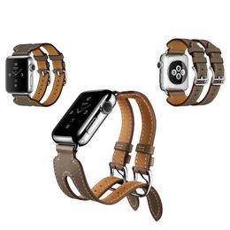 Doppelte Metallschnalle aus echtem Leder mit Bandarmband für Apple Watch iwatch 38 / 42mm schwarz blau rot Kaffee braun