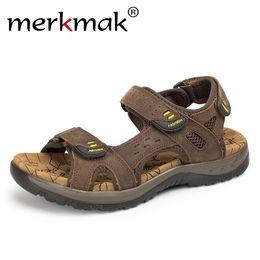 $enCountryForm.capitalKeyWord Australia - Merkmak Genuine Leather Summer Men Outdoor Sandals Beach Casual Shoes Sandals Quick Dry Protective Walking Shoes Large Size #99078