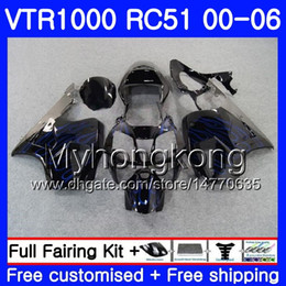 rc51 fairing kit Australia - Kit For HONDA VTR 1000 RC51 2000 2001 2002 2003 2004 2005 2006 257HM.30 RTV1000 Blue flames hot SP1 SP2 VTR1000 00 01 02 03 04 05 06 Fairing