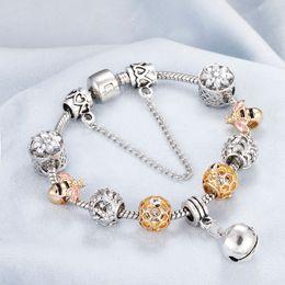 $enCountryForm.capitalKeyWord Australia - Luxury Crystal Bell Beads Pendant Charm Bracelets&Bangles Silver Plated Chain Bracelet Fits Brand For Women DIY Jewelry Pulseira