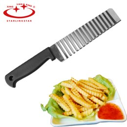 French Fries Cutters Australia - Potato French Fry Cutter Stainless Steel Kitchen Accessories Serrated Blade Easy Slicing Banana Fruits Potato Wave Knife Chopper