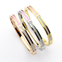 $enCountryForm.capitalKeyWord Australia - 316L titanium steel brand name double T pink drip bangles Bracelet T-shaped bangle jewelry accessories