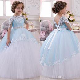Wedding Tutus Australia - Short Sleeves Blue Ivory Flower Girl Dress with Removable Sash Wedding Prom Ball Gown Birthday Communion Toddler Kids Tutu Skirt Dress