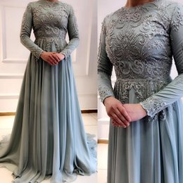 $enCountryForm.capitalKeyWord Australia - 2019 Arabic Muslim Silver Lace Beaded Evening Dresses Long Sleeves Chiffon Prom Dresses Sexy Cheap Formal Party Bridesmaid Pageant Gowns ZJ5
