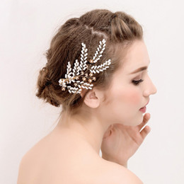 $enCountryForm.capitalKeyWord Australia - Gorgeous Bridal Barrettes Hair Vine Accessories Elegant Gold Hair Jewelry for Women Wedding Prom Party Pearls Crystals Headpiece