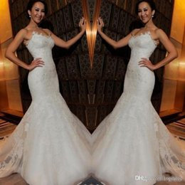 Cheap Strapless Trumpet Wedding Dresses UK - Newest Sexy Lace Mermaid Wedding Dresses Summer Sweetheart Beach Bridal Dress Tulle Sweep Train Cheap Wedding Gowns Custom Made