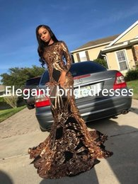 $enCountryForm.capitalKeyWord Australia - 2019 Gold Sequins Mermaid Long Sleeves Black Girl Prom Dresses Plus Size Court Train Long Graduation Dress Nigeria Evening Gowns