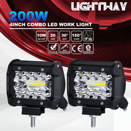 Großhandel 2 stücke 4 zoll 200 Watt CREE LED Arbeitslicht Bar Pods Unterputz Combo Driving Lampe 12 V 6000 Karat 20000LM Für Fahren Offroad Boot Auto