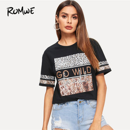 Leopard Tees Australia - Romwe Letter Mixed Animal Print Tee Comfort Summer Stretch Short Sleeve Female Tops Swish Women Black Leopard T Shirt Q190524