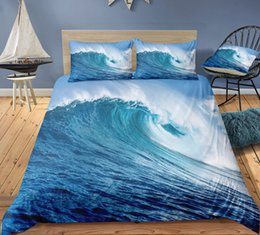$enCountryForm.capitalKeyWord Australia - Wave Printed Bedding Set King Size Cool Simple 3D Duvet Cover Queen Home Textile Double Single Bed Set With Pillowcase 3pcs