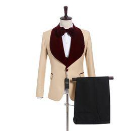 Discount images three piece wine suit - New Arrival One Button Beige Wedding Groom Tuxedos Wine Velvet Shawl Lapel Groomsmen Men Suits Prom Blazer (Jacket+Pants