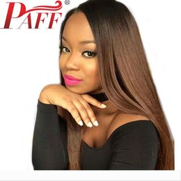 tone hair color lace fronts Australia - PAFF Ombre Lace Front Human Hair Wigs Silky Straight Two Tone Color Wig Baby Hair Pre Plucked Peruvian Remy Hair Wigs For Women