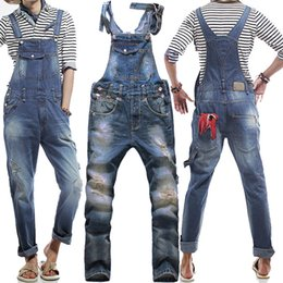 Overalls For Mens Australia - Men's Korean style slim Jumpsuits Hole suspenders jeans for men Mens denim bib pants Blue Denim Overalls Trouser For Man