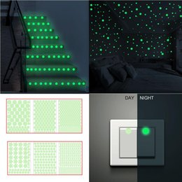 bathroom cartoon tiles UK - 3D Stickers Stars dot Glow In The Dark Luminous Fluorescent Wall Stickers Non-toxic PVC Stair switch Room Decors free shipping