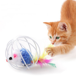 $enCountryForm.capitalKeyWord Australia - Wholesale Pet Supply Cat Toys Small Mouse in Cage Cat Toy Coop Mouse Ball Funny Playing feather Toys for Cat