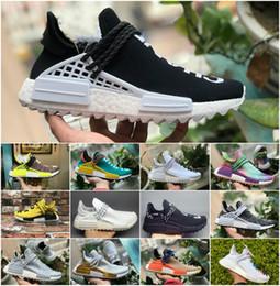 Black White Men Shoes Cheap Australia - Cheap 36-47 Williams Human Race men women Sports Running Shoes Black White Grey Nmds primeknit PK runner Sneakers