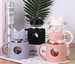 glass coffee mugs 2019 - Cute Cat Silicone Cup Glass Milk Coffee Mug with Lid Handgrip Creative Gift for Children 400ml cheap glass coffee mugs