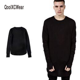 $enCountryForm.capitalKeyWord Australia - Qoolxcwear New Thumb Hole Cuffs Long Sleeve Tyga Swag Style Mens Side Split Hip Hop Top Tee T Shirt Crew Wool T-shirt Men J190610
