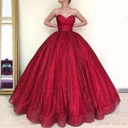 Cheap Little Pageant Dresses Australia - Shinning Red Prom Dresses Strapless Sequins Ball Gown Evening Dress Floor Length Zipper Back Girls Pageant Dress Party Vestidos Cheap
