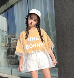 korean shirt style for women 2019 - Yougeman Summer Tops For Women 2019 Korean Style Ulzzang Harajuku Mesh Patchwork Fake 2 Piece Print Short Sleeve T-shirt