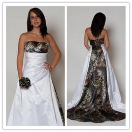 Custom Print T Shirt Cheap Australia - New Design Camo Wedding Dress 2019 Strapless Pleats A Line Sweep Train Satin Country Beach Bridal Gowns Plus Size Cheap Custom Made