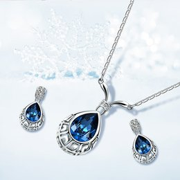 $enCountryForm.capitalKeyWord Australia - Simple Fashionable Alloy Oceanblue Pendant Earrings Jewelry Sets For Festival Best Gift 12sets Hot Sales 61172406