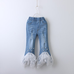 e97d3ef205b Wholesale boutique kid clothing online shopping - Children Denim pearl lace  pants INS baby Girls Jeans