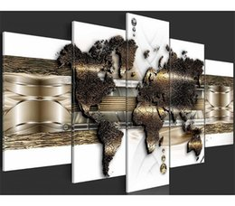 Multi Piece Paintings Australia - 5 Pieces Canvas Posters and Prints Performing scenery world map modern Oil Painting Canvas Wall Pictures Living Room Home Decor 28-3