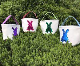 Cute Canvas Handbags Australia - Mermaid Sequins Easter Basket Canvas Rabbit Bags Bunny Storage Bag DIY Cute Easter Gift Handbags Rabbit Ears Put Easter Eggs Baskets