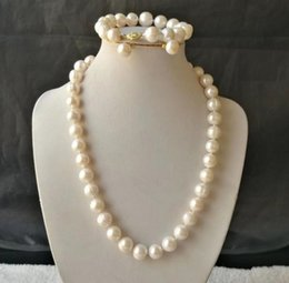 baroque gold south sea pearls UK - 10-12mm White South Sea Baroque Pearl Necklace + Bracelet + Earrings Set 18inch 14k Gold Accessories