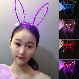 $enCountryForm.capitalKeyWord Australia - Band Hoop Women Rabbit Ears LED Effect Lovely Decoration Party Glowing Supplies Cute Hair Accessories Gift Festival