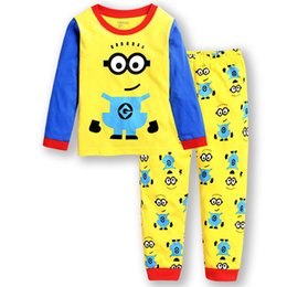 winter long sleeve tees NZ - Baby Boy Minions Pajamas Suits Kids Girls Pyjamas Cartoon Sleepwear Nightwear Cotton Pants Long Sleeve Tee Children Clothing Set