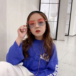 Girl Children Models NZ - 2019 fashion personality marine film children sunglasses flowers wave round sunglasses tide models boys and girls glasses