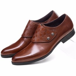 Tan Mens Dress Shoes Leather Australia - Fashion Brown Tan   Black Dress Shoes Man Business Shoes Genuine Leather Pointed Toe Formal Mens Wedding Shoes