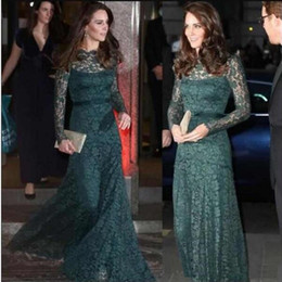 74060092bb9 Formal Elegant Lace Evening Dresses Dark Green Long Sleeves Special  Occasion Party Dresses KATE MIDDLETON Same Style Red Carpet Prom Dresses