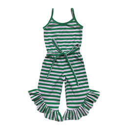 navy stripes UK - Newest Baby Girls Jumpsuit Summer Green Red Black Stripe Ruffle Pant Girls Romper Toddler One Piece Outfit 1-6t J190524