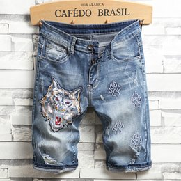 7ce88c838c Newest Men Short Denim Pants Ripped Embroidery Knee Length Middle Waist  Causual Fashional Bleached Distressed Shorts Straight Free Shipping