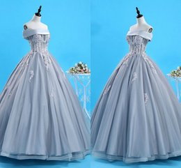 Wholesale 2019 Puffy Silver Boat Neck Quinceanera Prom Dresses Ball Gown Cheap Applique Beaded Corset Back Sweet Dress Vestido De Novia Party Gowns