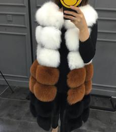 Wholesale womens long waistcoats for sale - Group buy Womens Faux Fur Coats for Womens Long Section Contrast Female Immitation Fur Waistcoats Veste Casual Jacket