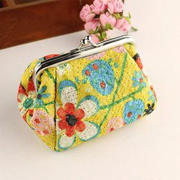 flower clutch coin purse NZ - Floral Embroidery Women Coin Purse Retro Lady Small Bag Vintage Flower Mini Bag Hasp Small Wallet Purse Clutch pochette#H35