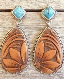 $enCountryForm.capitalKeyWord Australia - Vintage drop Silver turquoise Trendy Sunflower Exaggerated Female Dangle Stud Earrings for women European and American style