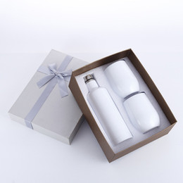3pcs lot Gift Wine tumbler Set Egg tumbler Set Stainless Steel Double Wall Insulated with one bottle two wine tumbler EEA327 on Sale