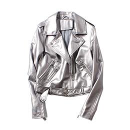 $enCountryForm.capitalKeyWord UK - 2019 Spring Silver Female Leather Belt Biker Jacket Zipper Coat Korean Women Streetwear Motorcycle Jacket Long Sleeve Harajuku