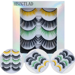 colored eyelashes Australia - Colored black 3D Mink Hair False Eyelashes Criss-cross Wispy Cross Fluffy 20mm-25mm Lashes Extension Handmade Eye Makeup Tools