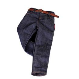 Diy Boys Toys UK - 1:6 Dark Blue Jeans Pants Trouser W. Belt For 12 Toys Male Figure Body DIY Use