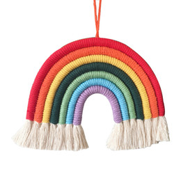 Wholesale INS home baby Nursery room rainbow decoration pendant Hand weaving Rainbow hanging wall C1553