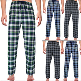 baumwoll-pyjamahose großhandel-MEN Plaid Schlaf Pants Check LOUNGE HOSE PYJAMA UNTEN NACHT COTTON PLAIDS NIGHT M L XL XL
