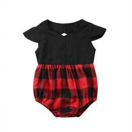 $enCountryForm.capitalKeyWord UK - 0-24M Newborn Baby Girl Summer Romper Sleeveless Red Plaid Patchwork Loose Casual Toddler Kids Jumpsuit Outfits