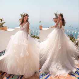modest organza beach wedding dresses UK - 2019 Modest V Neck Backless Wedding Dresses Lace Applique Floor Length Tired Tulle Custom Made Beach Bridal Gowns