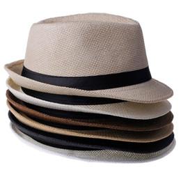 Stingy brim trilby online shopping - Hot Sale Trendy Unisex Fedora Trilby Gangster Cap For Women Summer Beach Sun Straw Panama Hat Men Fashion Cool Hats Retail